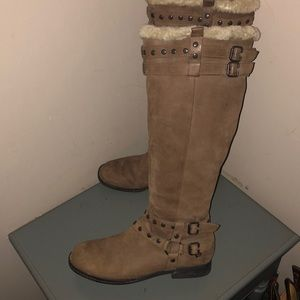 Born tall knee boots brown leather shearling 8.5